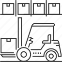 fork, forklift, management, truck, warehouse icon