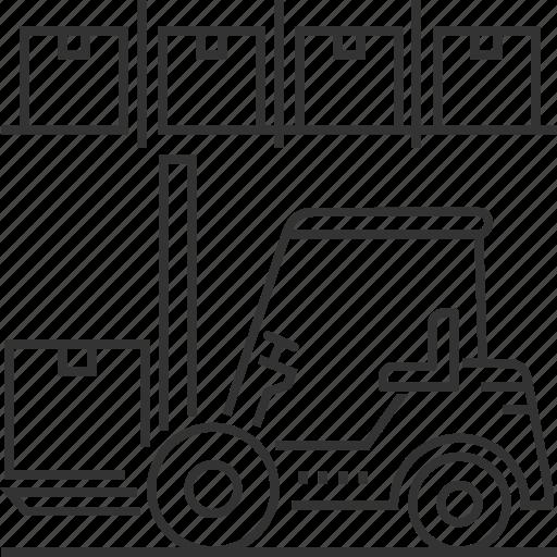 fork, forklift, management, truck, warehouse icon