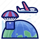 aeroplane, airdrop, airplane, delivery, shipment, shipping icon