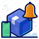 alert, delivery, notification, shipment, shipping, smartphone icon