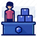 delivery, desk, pick, service, shipment, shipping, up icon