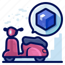 box, delivery, scooter, shipment, shipping, transport icon