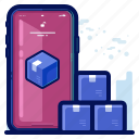 delivery, shipment, shipping, smartphone, track icon