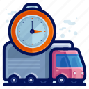 delivery, shipment, shipping, time, truck, vehicle icon