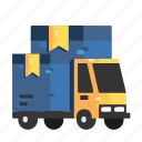 arrive, cargo, goods, shipments, trucks icon