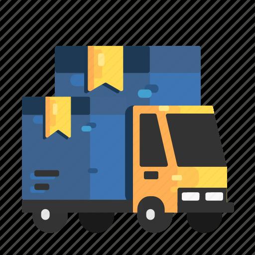 arrive, cargo, goods, shipments, trucks icon