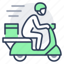courier, delivery, fast, moped, motorbike, scooter icon