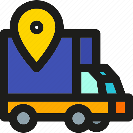 delivery, location, map, package, pin, shipping, truck icon