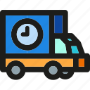 box, delivery, package, shipping, time, transport, truck icon