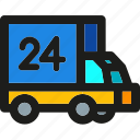 delivery, hours, package, shipping, support, transport, truck icon