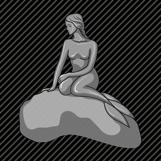 architecture, denmark, landmark, mermaid, monument, sculpture icon