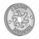 coin, crown, currency, denmark, finance, money, national icon