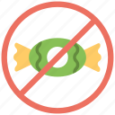 candy forbidden, sweets restricted, not allowed, candy restricted, candy prohibited icon