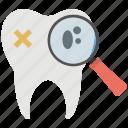dental, dental inspection, magnifying glass, dentist, dental checkup icon