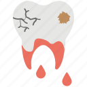 bleeding, cracked tooth, damaged tooth, dental caries, tooth decay icon