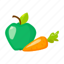 apple, carrot, fruit, health, vegetable, vitamin icon