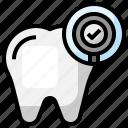 dental, checkup, care, dentist, magnifying, glass, check