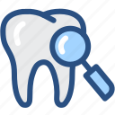 dental, dentist, dentistry, medical, oral hygiene, search, tooth icon