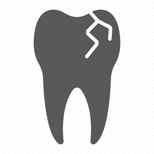 broken, caries, cracked, dental, sick, stomatology, tooth icon