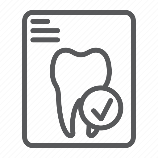 check, dental, dentistry, document, enamel, report, tooth icon