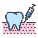 dental, dentist, dentistry, gum, injection, teeth, tooth icon