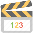 cinema, clapboard, clapper, movie, multimedia icon