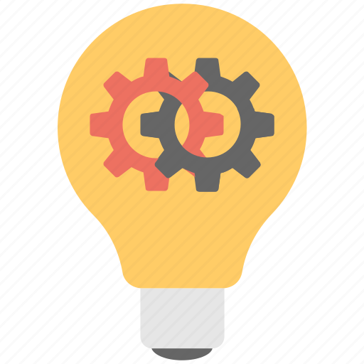 bulb, cog, idea, innovation, light icon