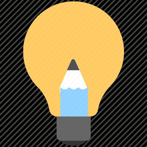 bulb, creativity, idea, light, pencil icon