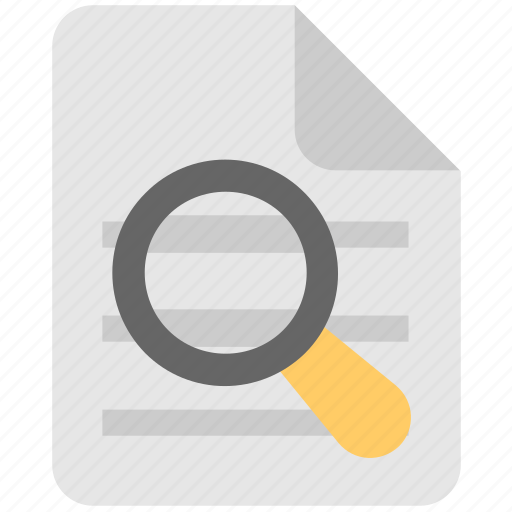 document, file, find, magnifier, search file icon