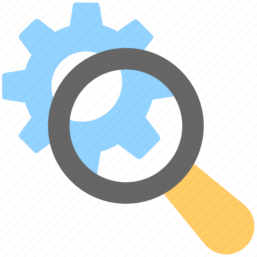 cog, magnifier, optimization, search engine, search setting icon