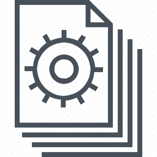 cog, configuration, content management, document, gear, gears, work icon