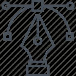 computer, design, draw, graphics, graphics design, line, pen icon