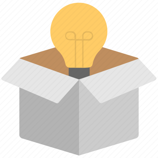 box, bulb, creative, idea, innovation icon