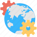 cogs, globe, internet, internet setting, location setting icon
