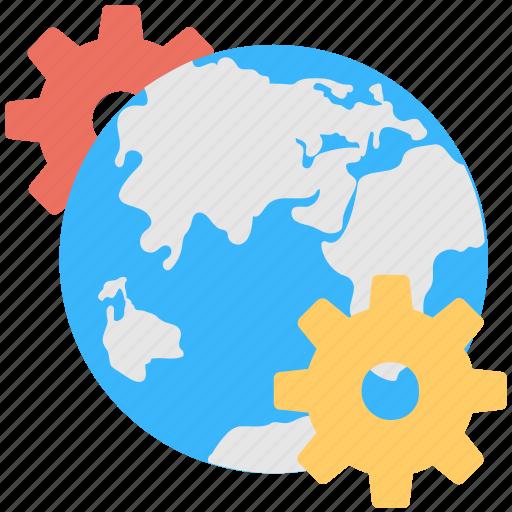 cogs, globe, internet, internet setting, location setting icon