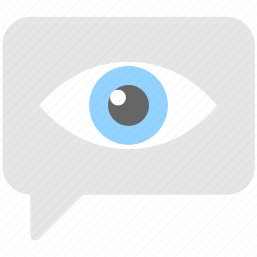 chat bubble, conversation, eye, message, seen icon