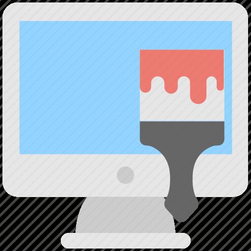 brush, deigning, graphic, monitor, web designing icon