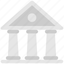bank, building, columns building, court, landmark icon