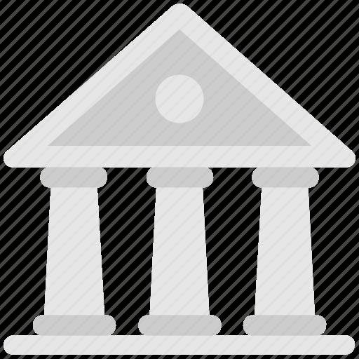 bank, building, columns building, court, landmark icon