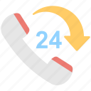 customer service, helpline, hotline, receiver, twenty four icon