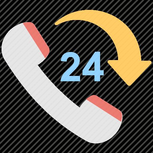 customer service, helpline, hotline, receiver, twenty four icon