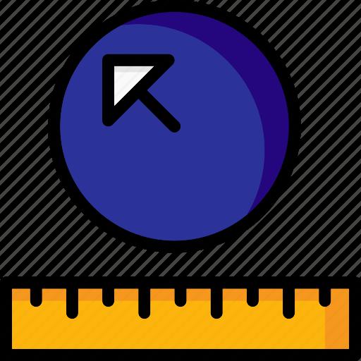 cad, colour, design, measure, radius, ultra icon