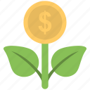 dollar, income, money plant, plant, profit icon