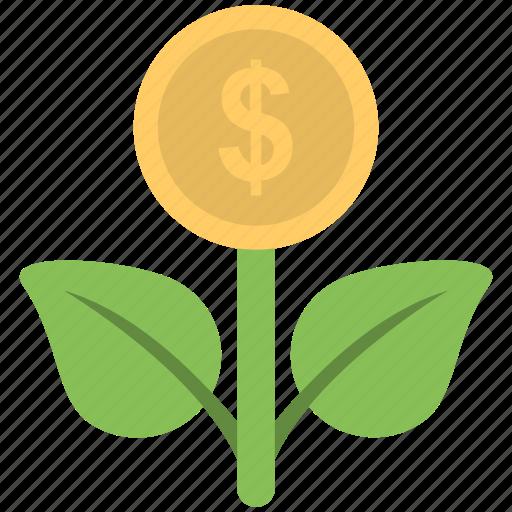 dollar, income, money plant, plant, profit icon