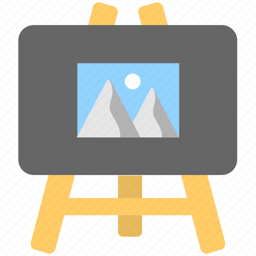 canvas, drawing, easel, landscape, painting icon