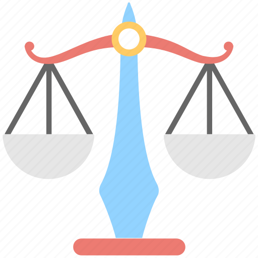 balance scale, justice, law, legal, scale icon