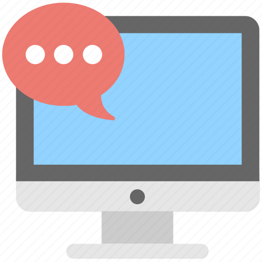 chatting, communication, monitor, online chat, screen icon