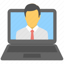 consulting, laptop, online, services, talk icon