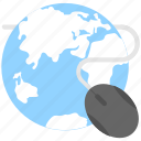 globe, internet, mouse, ppc, seo icon