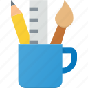 art, design, designer, mug, paint, pencil icon